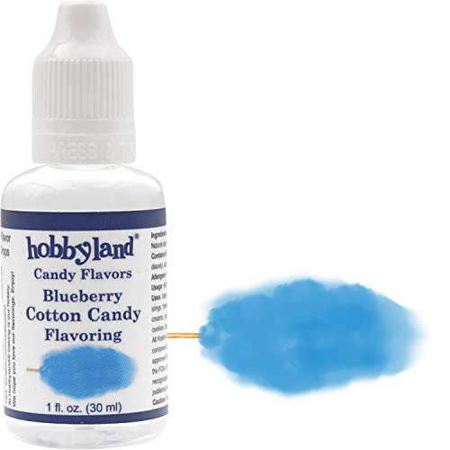 Hobbyland Candy Flavors (Blueberry Cotton Candy Flavoring, 1 Fl Oz) Blueberry Cotton Candy Concentrated Flavor Drops
