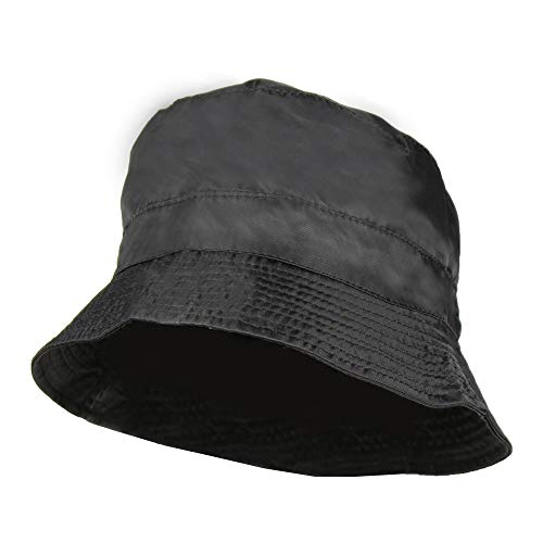 Black Waterproof Packable Rain Bucket Hat, Zip Pocket - Foldable Crusher - Hat Packable Rain