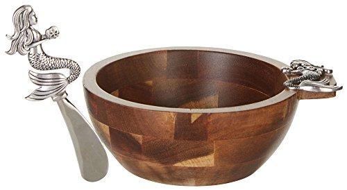 Mermaid Zinc Alloy and Acacia Wood Bowl and Spreader Set