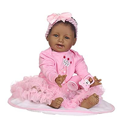 Fenteer 22inch Silicone Reborn African American Doll Toddler Newborn Baby Doll with Clothes, Pacifier, Bottle and Carpet