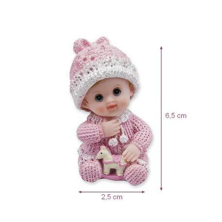 Bébé Fille avec Cheval à Bascule Rose, 6.5 x 2.5 cm, Petite Figurine en Résine de Décoration pour Bapême ou babyshower Doge