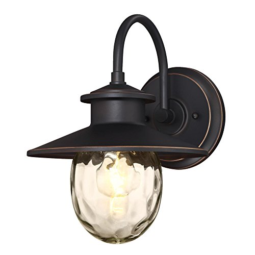 Westinghouse Lighting 6313100 Delmont One-Light Outdoor Wall Fixture, Oil Rubbed Bronze Finish with Highlights and Clear Water Glass,