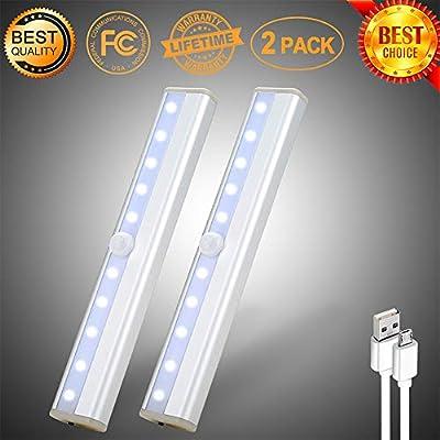 LED Closet Lights bar 10 LED Motion Sensor Light Under Cabinet Lighting Wireless Rechargeable Strips ,Stick-On Anywhere for Closet/Wardrobe/Drawer/Cupboard,White Light,2 Pack