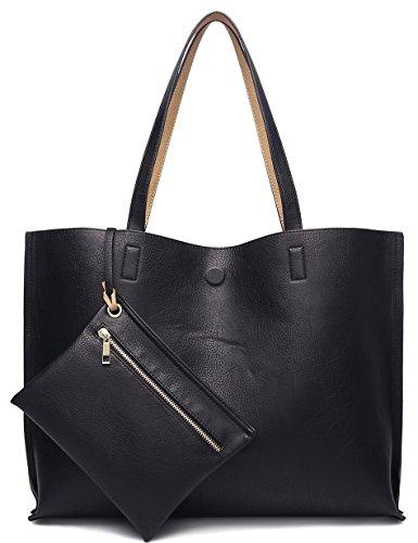 ilishop Stylish Tote Bag Reversible Shoulder Handbag with Coin Purse for Women (Black-Khaki)