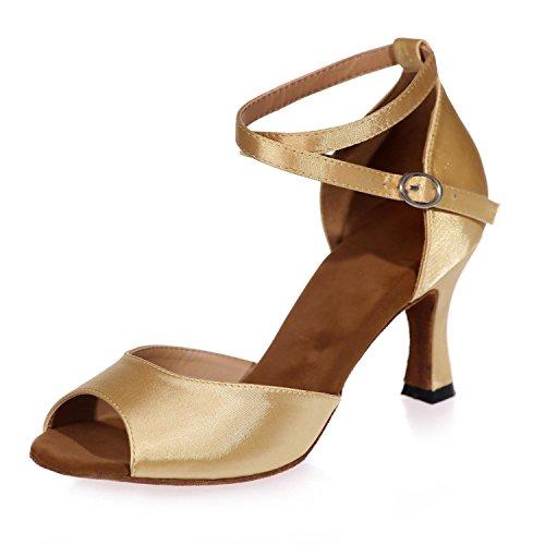Chaussures L Hauts Cuir Cuba D'IntéRieur Le De Les Femmes Le YC avec Ouvrent Tissu D'Orteil gold Professionnel Fait Talons à q4pfBwq