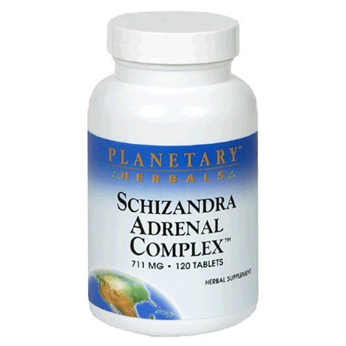 Planetary Herbals Schizandra Adrenal Complex Tablets, 710 mg, 120-Count Bottles (Pack of 2)