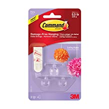 Command Party Ceiling Hook, 0.5 lb Capacity, 3 Hooks 4 Strips, (17803C)
