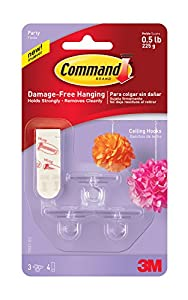Amazon Com Command Party Ceiling Hooks 3 Hooks 17803 Es