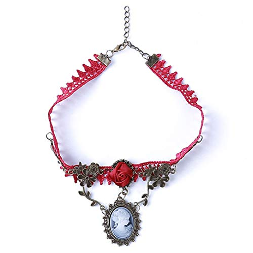 lehao Vintage Rose Vine Necklace Necklace with Pendant Gothic Ribbon Necklace Party Short Flower Necklace for Girls ()