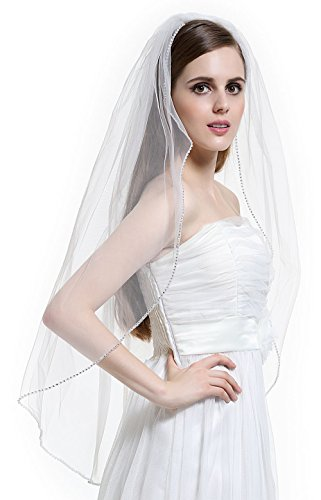 [BEAUTELICATE 1T Bridal Wedding Veil with Comb Rhinestones Edge Fingertip Length-V63(Ivory)] (Gothic Bride Halloween Makeup)