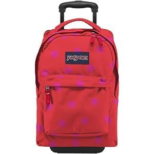 "JanSport Wheeled Superbreak Roller Bag - Fluorescent Pink/Coral Dusk Spots / 19""H x 13""W x 9.5""D"