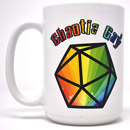 (Chaotic Gay Pride Rainbow D20 LGBTQ Gamer Geek Two-Sided Dishwasher Safe Coffee Mug (15oz))