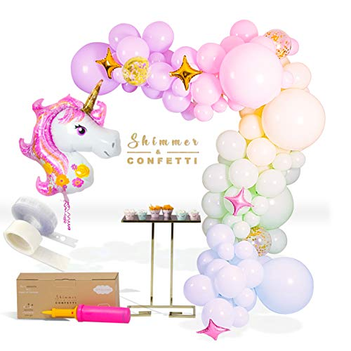 - SHIMMER & CONFETTI 133 Pack 16ft Premium Pastel Unicorn Balloon Arch Kit | Rainbow Balloon Arch kit | Mermaid Unicorn Party Kit | Pastel Balloons Garland Kit | Organic Balloon Decor