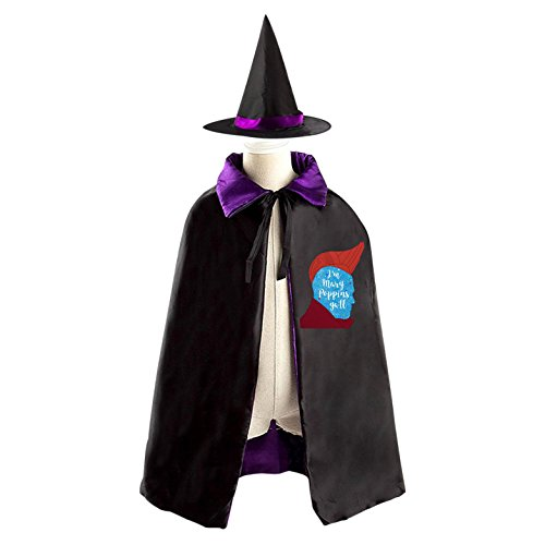 I'm Mary Poppins Y'all Halloween and Christmas Costumes Witch Cloak with Hat for Kids Boys Girls (Mary Poppins Dress Up Costumes)
