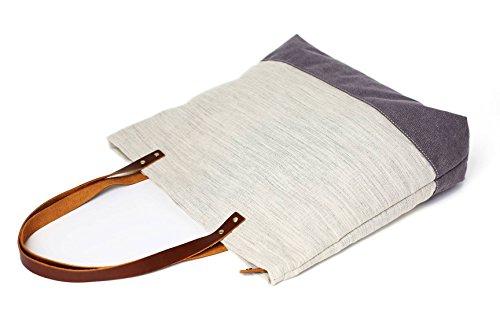 Handgemachte Leder Leinen Tragetasche, Damen Schultertaschen, Schultaschen Handtaschen