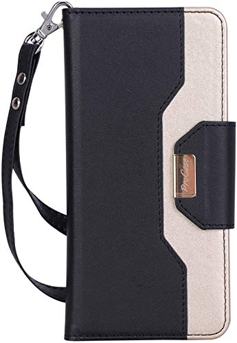 ProCase Galaxy S10 Plus Wallet Case, Flip Fold Kickstand Case with Card Holders Mirror, Folding Stand Protective Book Case Cover for 6.4 Inch Galaxy S10+ (2019 Release) - Black