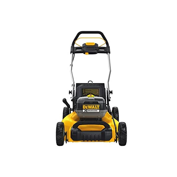 Dewalt 20v max lawn mower, 3-in-1, 2 batteries (dcmw220p2) 3 push mower comes with powerful brushless motor and (2) 20v max* batteries working simultaneously for high power output. 3-in-1 push lawn mower for mulching, bagging and side discharging battery lawn mower has heavy-duty 20-inch metal deck