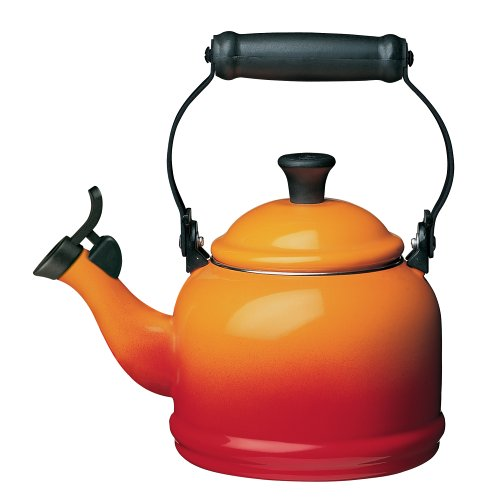 Le Creuset Enamel-on-Steel Demi 1-1/4-Quart Teakettle, (Dry Orange Tea)