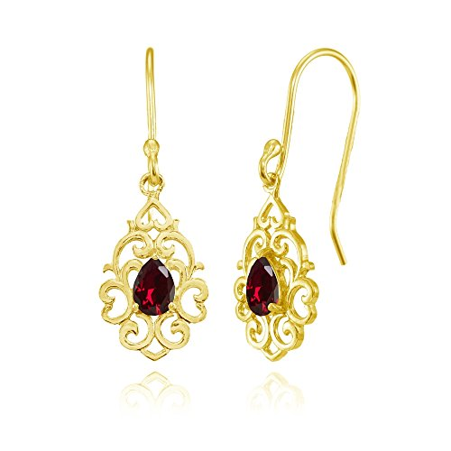Ruby Red Flashed - Yellow Gold Flashed Sterling Silver Created Ruby Filigree Heart Teardrop Dangle Earrings