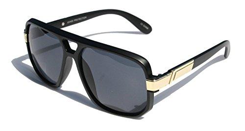 Gazelle Swag Square Oversized Sunglasses (Matte Black & Gold Frame, Black - Sunglasses Swag