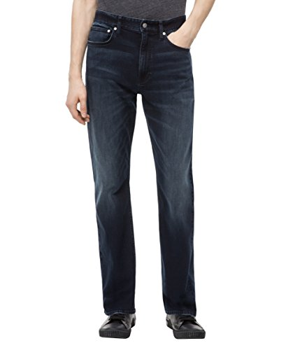 Calvin Klein Men's Relaxed Straight Fit Jeans, boston blue/black 33W x 30L