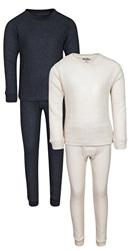 Thermal Underwear Shirt Pant - 'Snozu Boys 2-Pack Thermal Warm Underwear Top and Pant Set, Charcoal/Natural, Size 4'
