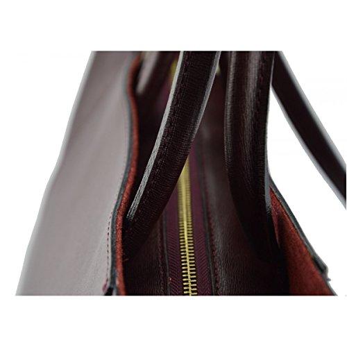 Borsa Donna A Mano In Vera Pelle Colore Rosso Borgogna - Pelletteria Toscana Made In Italy - Borsa Donna