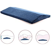 Qutool Memory Foam Sleeping Pillow for Lower Back Pain Orthopedic Lumbar Support Wedge Pillow for Sciatica Pregnancy Hip and Leg Pain Waist Pillow for Sleeping on Side or Back (Blue)