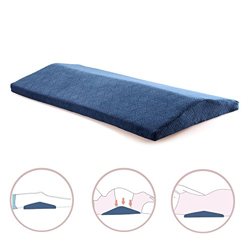 Qutool Memory Foam Sleeping Pillow for Lower Back Pain Orthopedic Lumbar Support Wedge Pillow for Sciatica Pregnancy Hip and Leg Pain Waist Pillow for Sleeping on Side or Back (Blue) (Healthy Wedge Back)