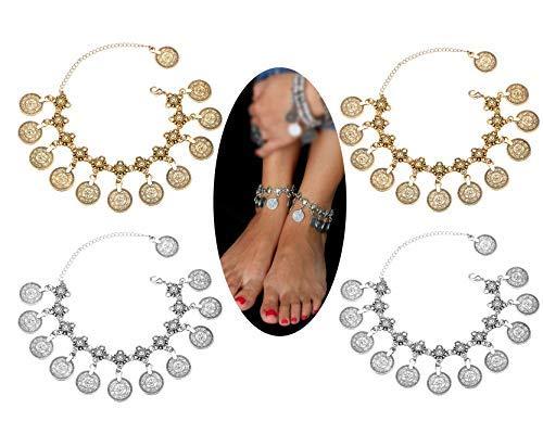 Finrezio 4 PCS Hot Boho Coin Ankle Bracelets for Women Anklets Bohemian Tassel Barefoot Sandals Chain Jewelry Set