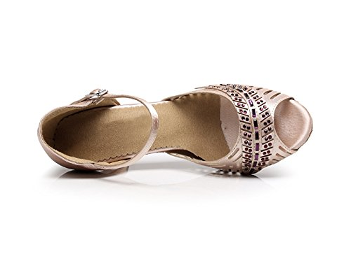 5 Salsa Sandals Beige KQJ7076 Tango Wedding Fashion Latin 6 Kevin Flared Women's Satin US Heel WTOPX1qn8
