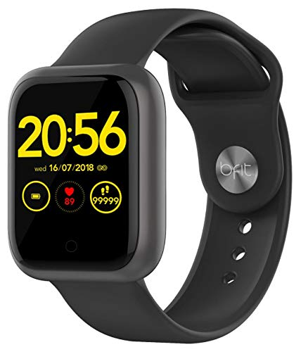 Bfit Gen 1 (Color : Black) Single touch Unisex smartwatch with Heart rate monitoring, Smartphone notifications and upto…