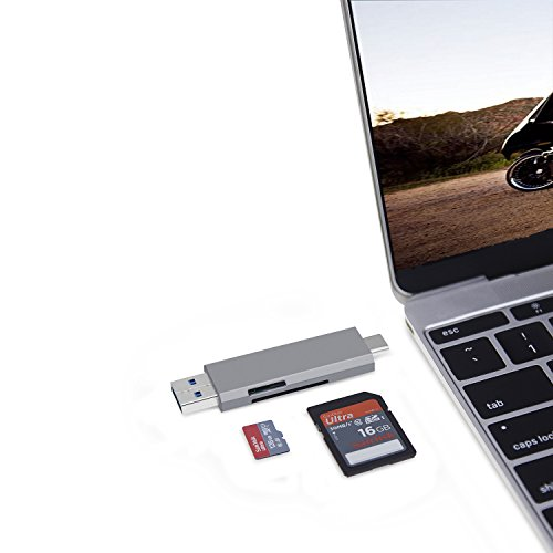 AllEasy USB C SD Card Reader USB-C/USB 3.0 2-in-1 Memory Card Reader Adapter Dual SD and Micro SD for Mac, Windows, 2017 MacBook Pro, Samsung Galaxy S9/S8 and More, Aluminum Case, Grey by AllEasy (Image #5)