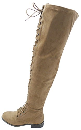 Wild Diva Women's Lace Up Front Corset Detail Thigh High Flat Boot,10 B(M) US,Taupe Venus (Wild Diva Women Boots)