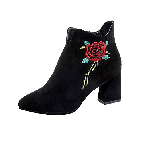 BEST.LIV Women's Vegan Suede Rose Embroidered On Heel Slip On Side Zipper Ankle Booties - Chic Liv