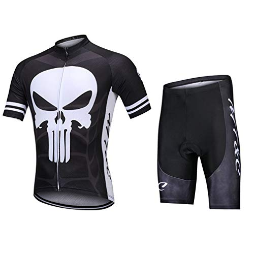 (Secret night Short-Sleeved Jersey Suit Spring and Autumn Winter Mountain Bike Suit Moisture Wicking Outdoor Breathable Bicycle Set,Black,XXXL)
