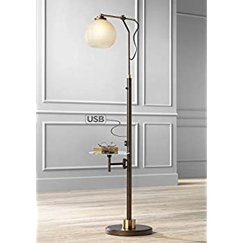 Jobe Modern Industrial Floor Lamp With Table Glass Usb