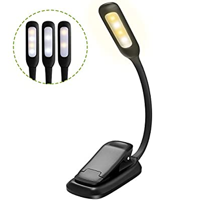 Thuctek 3-in-1 modes( White & Warm LEDs) Rechargeable LED Book Lights, Flexible Easy Clip On Lamp with Good Eye Protection Brightness and Bulit in Battery for Kindle, Reading in Bed, Car - Black