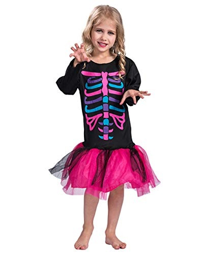 Halloween Funky Punk Bones Costume Kids Girls Colorful Skeleton Costume Dress-S -
