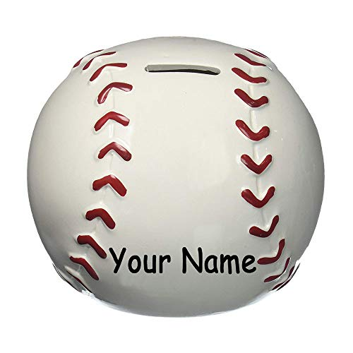 (Personalized Sports Baseball Round Shaped Ceramic Piggy Bank Coin Bank with Custom Name)