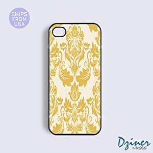 iPhone 4 4s Case - Yellow Damask Pattern iPhone Cover
