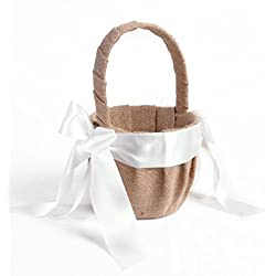 Elegant Linen White Ribbon Wedding Flower Girl Basket