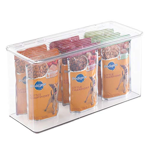 mDesign Plastic Stackable Storage Container Box with Hinged Lid – Pet Organizer Box for Dog, Cat Food, Treats, Toys…