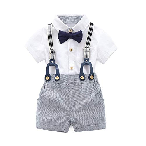 Pants Bib Shirt (KiKibaby Baby Boys Gentleman White Outfits Suits, Infant Short Sleeve Shirt+Bib Pants+Bow Tie Overalls Clothes Set)