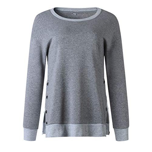 Whitegeese Women Button O Neck Long Sleeve Sweatshirt Pullover Shirt Tops Blouse