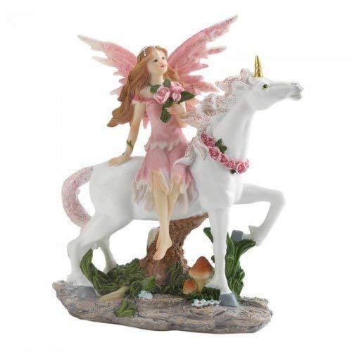 Dragon Crest 10018601 Pink Fairy with Unicorn Figurine Multicolor ()