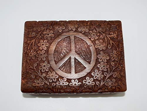 Indian Rosewood Quality Hand Carved Stash Box with Engraved Peace Sign