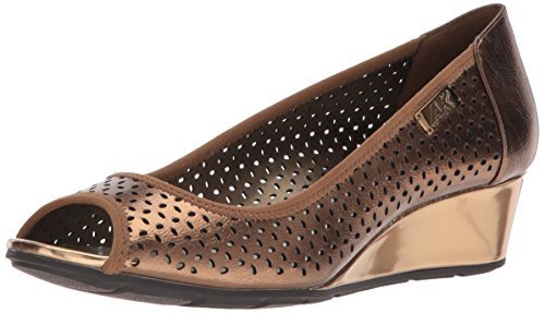 Anne Klein AK Sport Women's Cadwyn Peeptoe Wedge Pump, Bronze Synthetic, 8.5 M (Klein Womens Wedge Shoes)