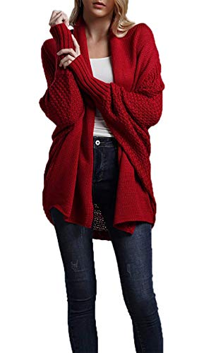 Bat Sleeve Women Sweaters - HZSONNE Women's Casual Long Bat Wing Sleeve Open Front Cardigan Chunky Sweater ... (Red2, One Size)