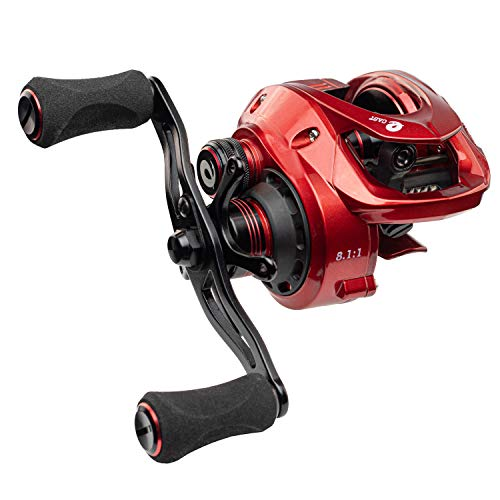 Enigma Fishing Baitcasting Reel High Speed, Low Profile, with Carbon Fiber Drag | Adjustable Magnetic Brakes | Your Choice of Gear Ratio | E-CAST EC-100 Red - Right Handed (Best Tip Up Bait For Pike)